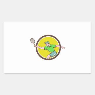 Tennis Player Racquet Forehand Circle Cartoon Rectangular Sticker