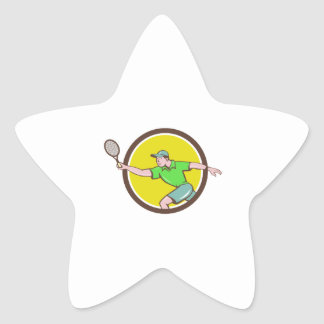 Tennis Player Racquet Forehand Circle Cartoon Star Sticker
