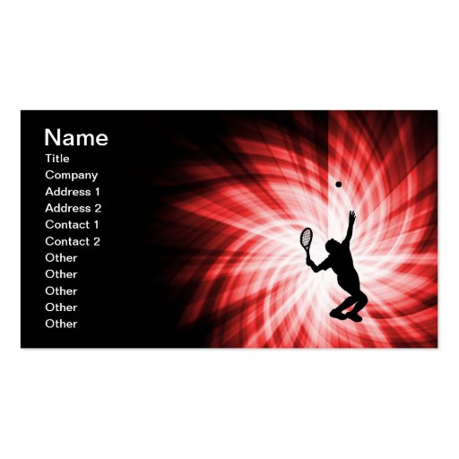 Tennis Player; Red Business Card Templates