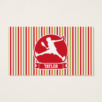 Tennis Player; Red, Orange, Green, White Stripes Business Card
