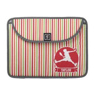 Tennis Player; Red, Orange, Green, White Stripes Sleeve For MacBook Pro