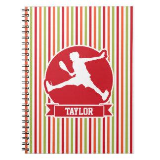 Tennis Player; Red, Orange, Green, White Stripes Notebook
