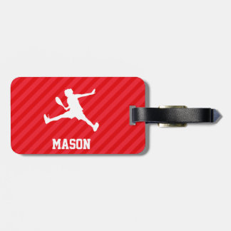 Tennis Player; Scarlet Red Stripes Bag Tag