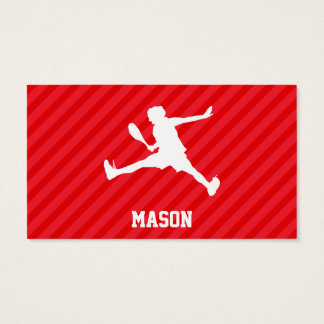 Tennis Player; Scarlet Red Stripes Business Card