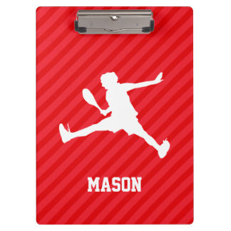 Tennis Player; Scarlet Red Stripes Clipboards