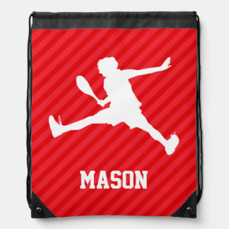 Tennis Player; Scarlet Red Stripes Drawstring Backpacks