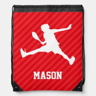 Tennis Player; Scarlet Red Stripes Drawstring Backpacks