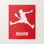 Tennis Player; Scarlet Red Stripes Puzzle