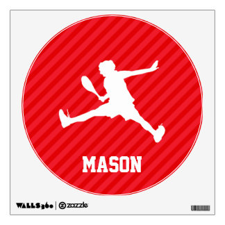 Tennis Player; Scarlet Red Stripes Room Sticker