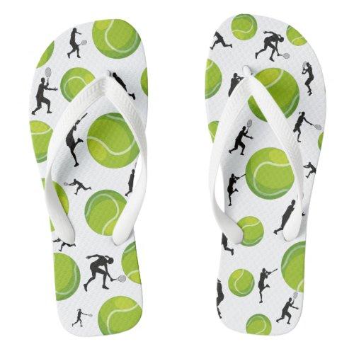 Tennis Player Silhouette Green Tennis Ball Pattern Flip Flops