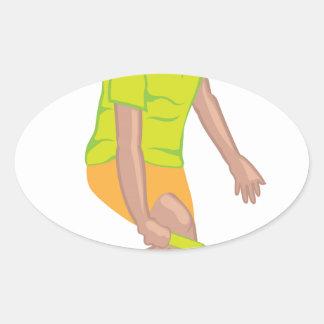 Tennis Player vector Oval Sticker