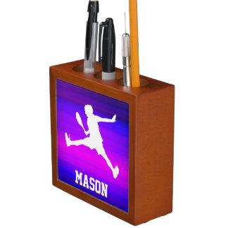 Tennis Player; Vibrant Violet Blue and Magenta Pencil/Pen Holder