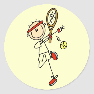 Tennis Player with Racquet Tshirts and Gifts Classic Round Sticker