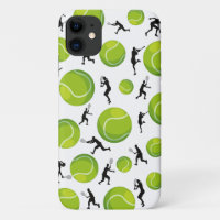 Tennis Players Silhouettes and Green Balls Pattern iPhone 11 Case