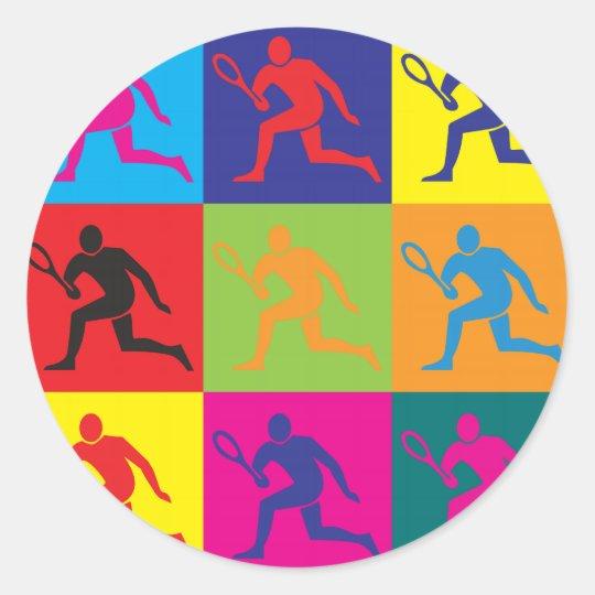 Tennis Pop Art Classic Round Sticker