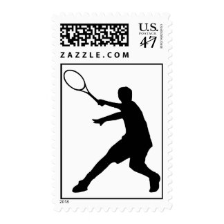 Tennis postage stamp | silhouette of a player