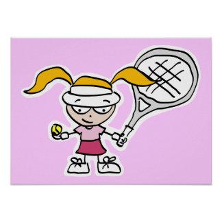 Tennis poster with girl tennis player cartoon