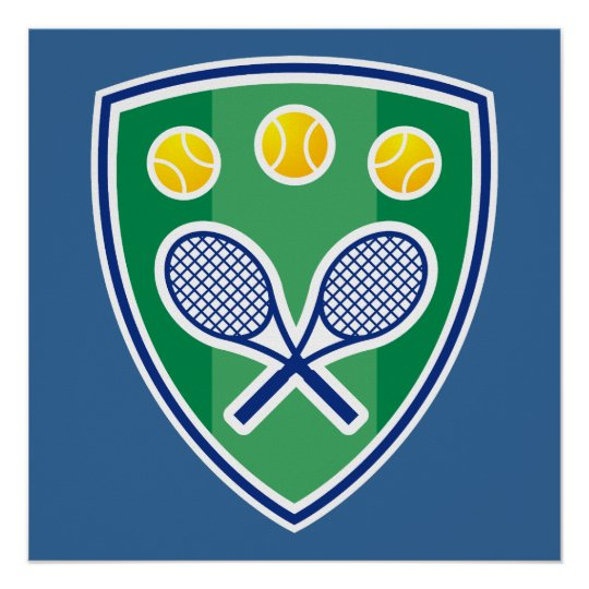 Tennis Poster with tennis racket emblem
