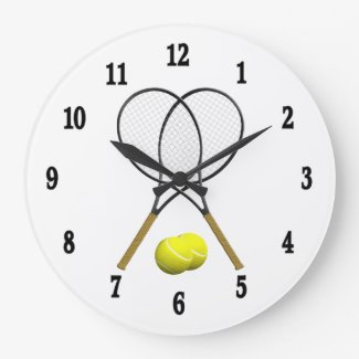 Tennis Rack Sport Wall Clock