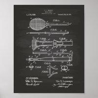 Tennis Racket 1916 Patent Art - Chalkboard Poster