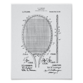 Tennis racket 1916 Patent Art - White Paper Poster