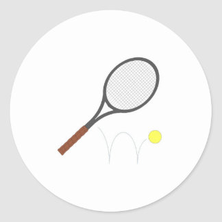 Tennis Racket And Ball Classic Round Sticker