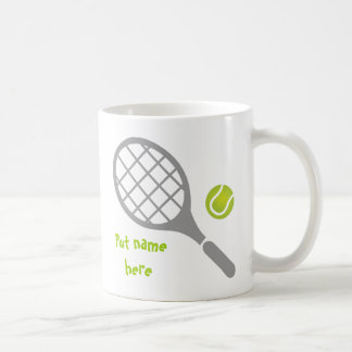 Tennis racket and ball custom coffee mug
