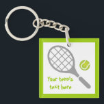 "Tennis racket and ball custom keychain<br><div class=""desc"">Tennis racket and ball custom gift design featuring a grey racket, a green tennis ball and your text on white background with green border. This cool design is a template and it is completely customizable. Personalize it and add the text ""Best tennis player"" or monogram, name or your message. The...</div>"