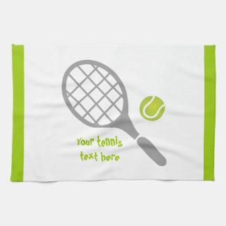 Tennis racket and ball custom hand towels
