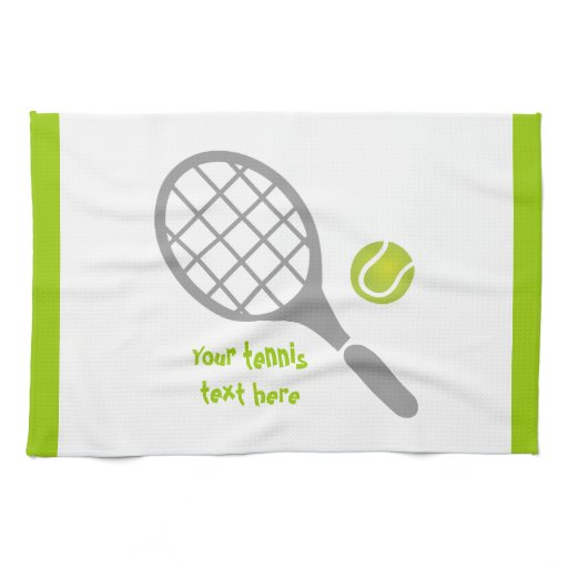 Tennis racket and ball custom kitchen towel