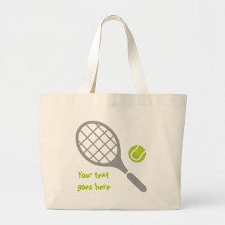 Tennis racket and ball custom large tote bag