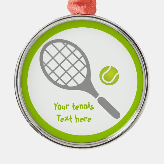 Tennis racket and ball custom metal ornament