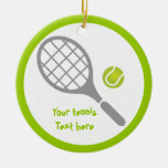 Tennis racket and ball custom Double-Sided ceramic round christmas ornament