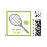 Tennis racket and ball custom postage stamp