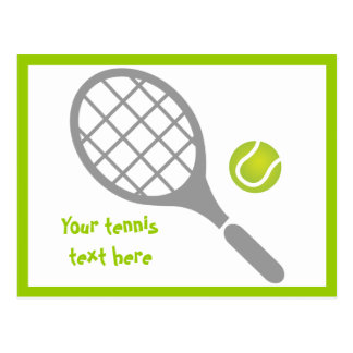 Tennis racket and ball custom postcards