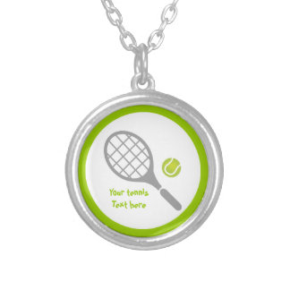 Tennis racket and ball custom silver plated necklace
