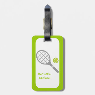 Tennis racket and ball custom tag for bags
