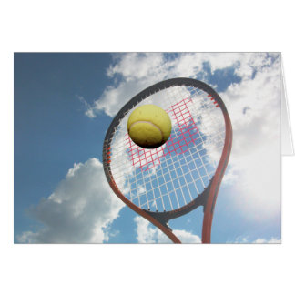 Tennis Racket and Ball in the Air Card