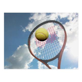 Tennis Racket and Ball in the Air Postcard Postcard