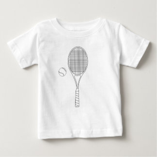 Tennis Racket and Ball Outline Baby Tee Shirt
