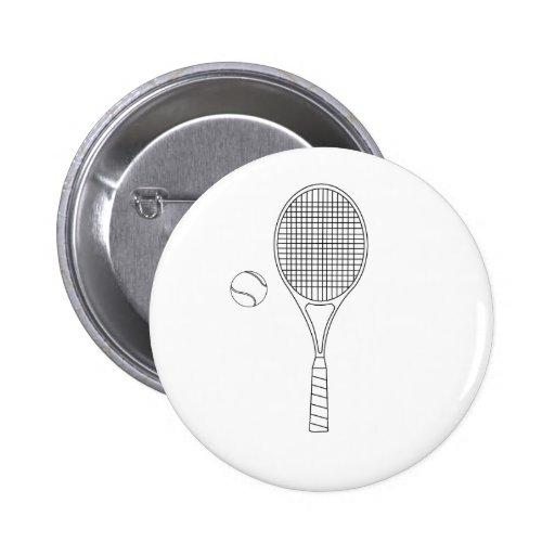 Tennis Racket and Ball Outline Button Badge