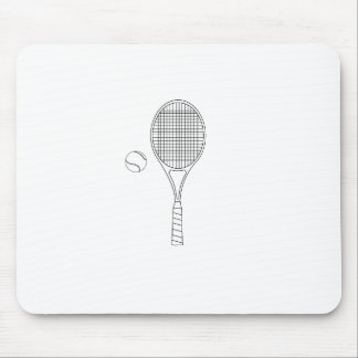 Tennis Racket and Ball Outline Mouse Pad