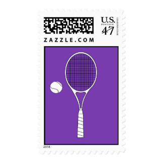 Tennis Racket and Ball Postage Stamp