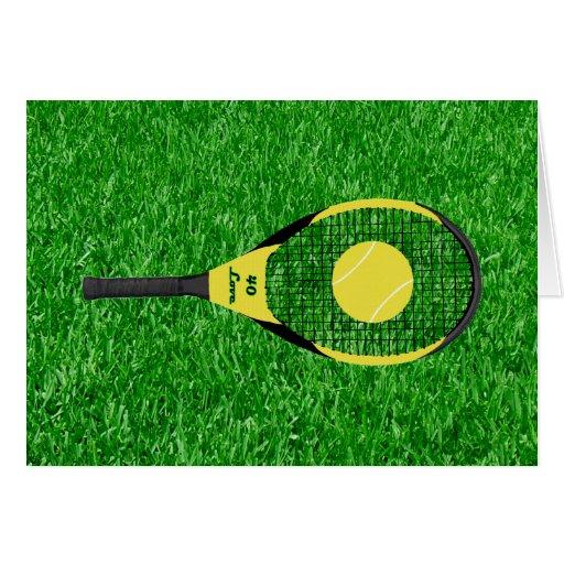 Tennis Racket & Ball On Lawn Card