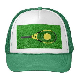 Tennis Racket & Ball On Lawn Trucker Hat