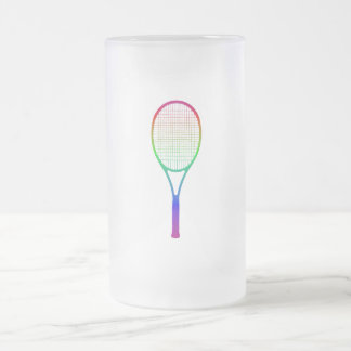 Tennis Racket 16 Oz Frosted Glass Beer Mug