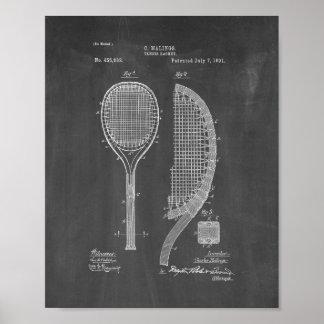 Tennis Racket Patent - Chalkboard Poster