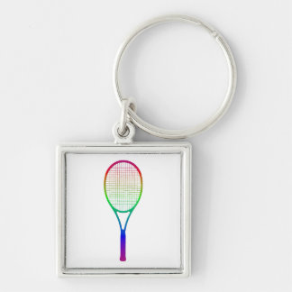 Tennis Racket Silver-Colored Square Keychain