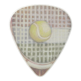 Tennis Racket with Ball Laying on Court Acetal Guitar Pick