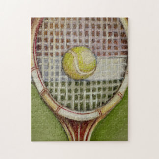 Tennis Racket with Ball Laying on Court Jigsaw Puzzle